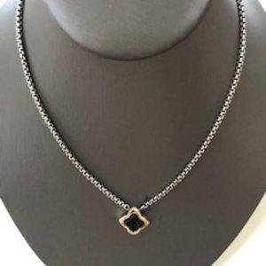 David Yurman Onyx Quatrefoil Necklace